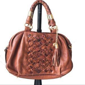 Brahmin Brown Leather Zippered Handbag Purse